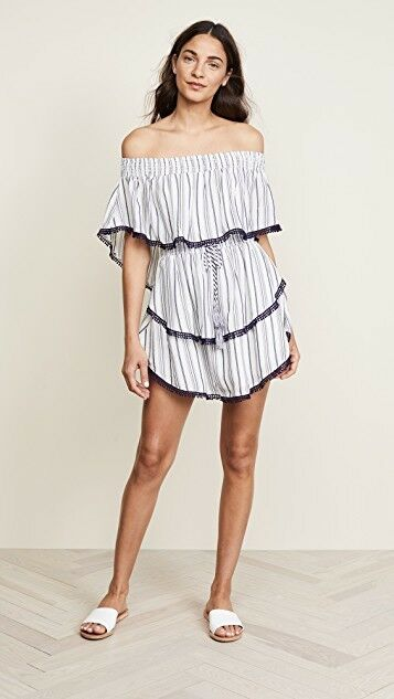 NWT The Jetset Diaries Diaries Diaries Aries Stripe Mini Dress Tiered Ruffled Navy Ivory S  199 34e39f
