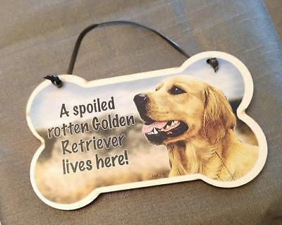 Small Dog Bone Shape Wood Plaque Spoiled Rotten English Cocker Spaniel Made USA