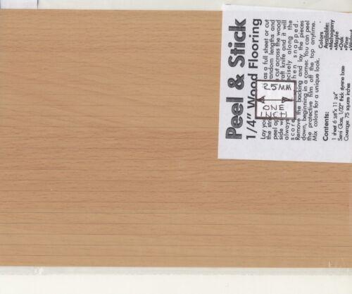 "1//12 scale MBS WF12OK  6/""x11/"" /""Oak/"" Peel /& Stick Plastic Flooring Sheet"