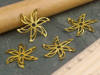 24mm Raw Brass Stamping Filigree Artistic Flower Embellishment Wrap bp49 (10pcs)