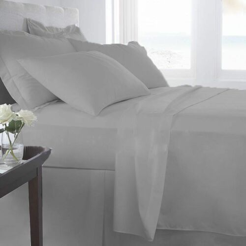 2 Pillow 1000 TC Egyptian Cotton Silver Grey Solid Deep Pocket Fitted /&Fitted