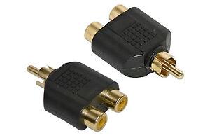 RCA-Phono-Splitter-GOLD-Adaptor-Converter-SENT-TODAY