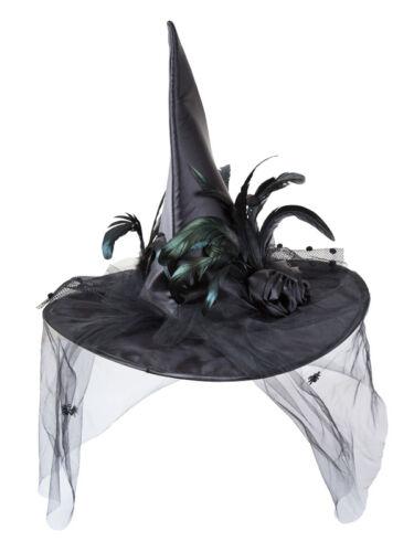 Deluxe noir sorcière chapeau /& plumes femmes halloween déguisement sorcières accessoire