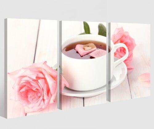 rosa Rose Tee Tasse Blume Küche Essen Bilder Wandbild 9A413 Leinwand 3 tlg