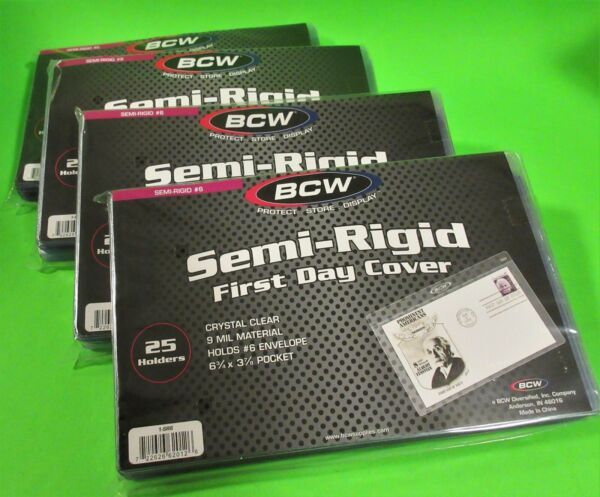 100 Semi-rigide First Day Cover Détenteurs, Archival Safe, Détient #6 Enveloppe, #1-sr6