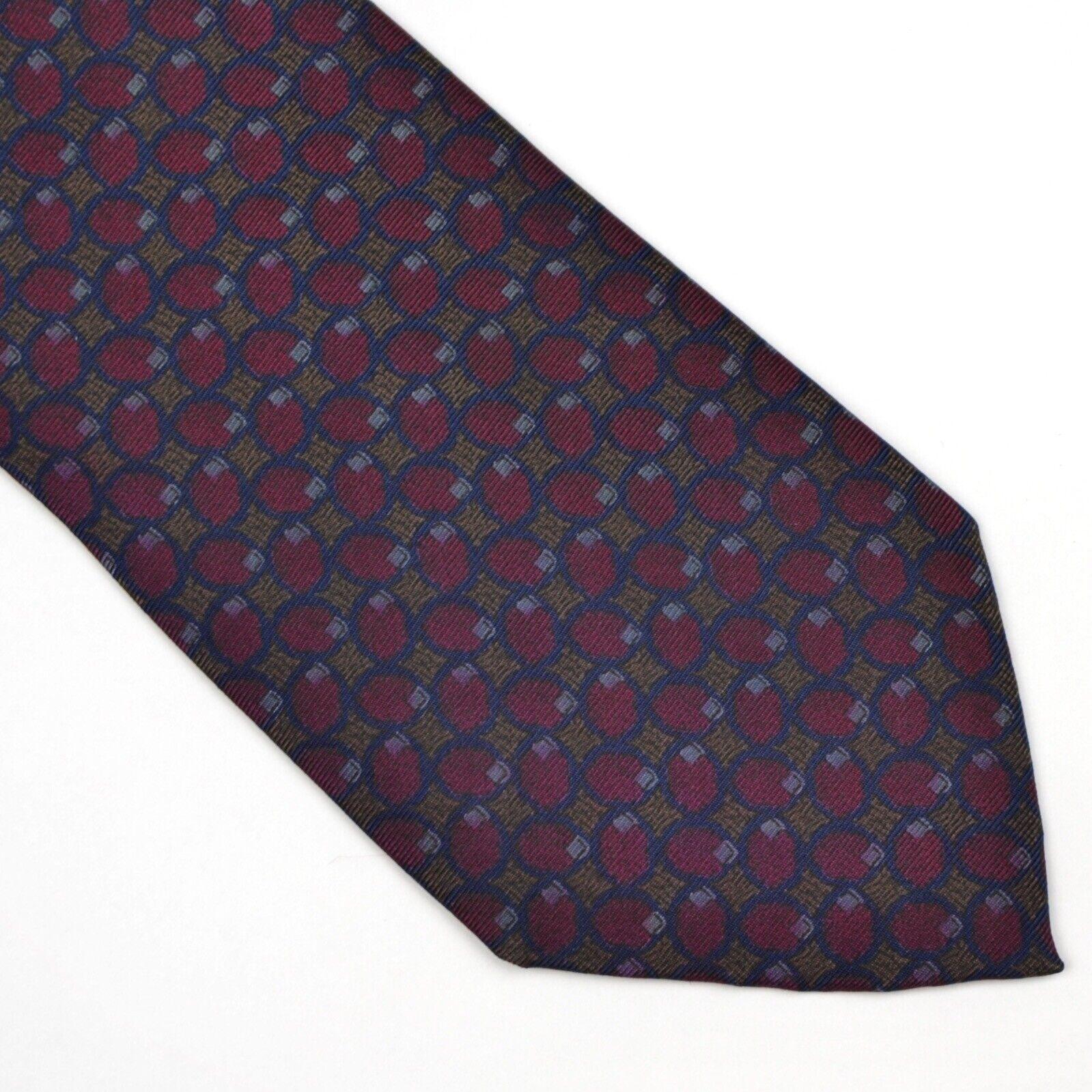 Lanvin Paris 100% Seide Silk Krawatte Tie Made in Italy HERBST Burgunderrot Blau