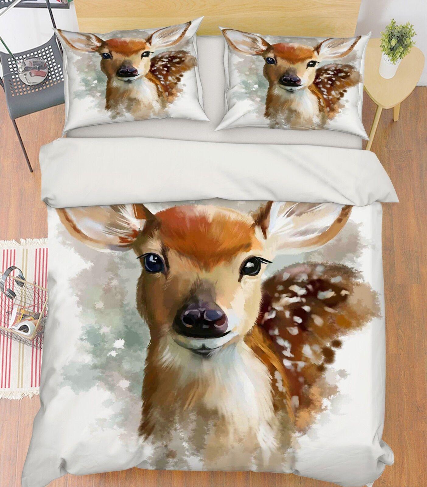 3D Paint Sika Deer 56 Bed Pillowcases Quilt Duvet Cover Set Single King UK Lemon