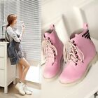 Fashion Women Lace Up Mid Calf Boots Combat Punk Ankle Short Boots Flat shoes@72