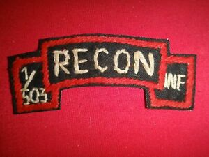 1st Battalion 503rd Infantry Regiment RECON Vietnam War Hand Made Scroll Patch