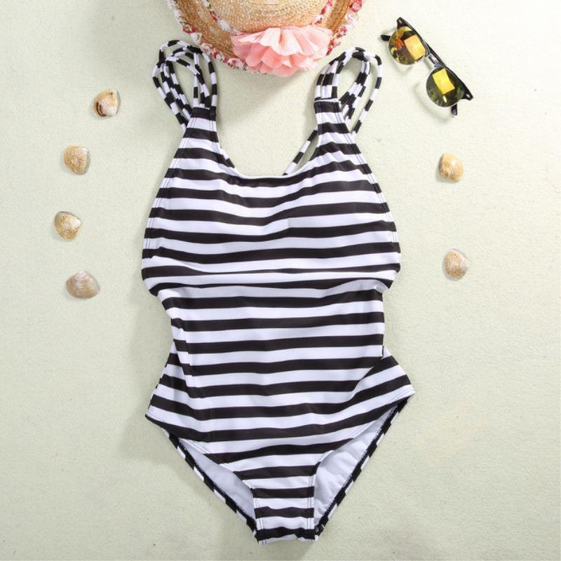 Mode meer badeanzug monokini frau weiß schwarz streifen élégant 5550 5550 5550   Bevorzugtes Material  e9630e