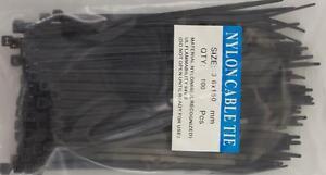 "6"" Black Nylon Cable Tie Zip Heavy Duty Plastic Wire - Pack of 100pcs"