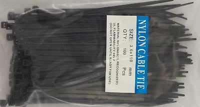"Pack of 100pcs 4"" Black Nylon Cable Tie Zip Heavy Duty Plastic Wire"