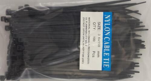 "6"" Black Nylon Cable Tie Zip Heavy Duty Plastic Wire Pack of 100pcs"
