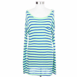 Old-Navy-Women-039-s-Medium-Long-Sleeved-Blue-and-Green-Shirt