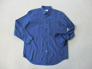 Robert-Graham-Button-Up-Shirt-Adult-2XL-XXL-Blue-Black-Flip-Cuff-Casual-Mens