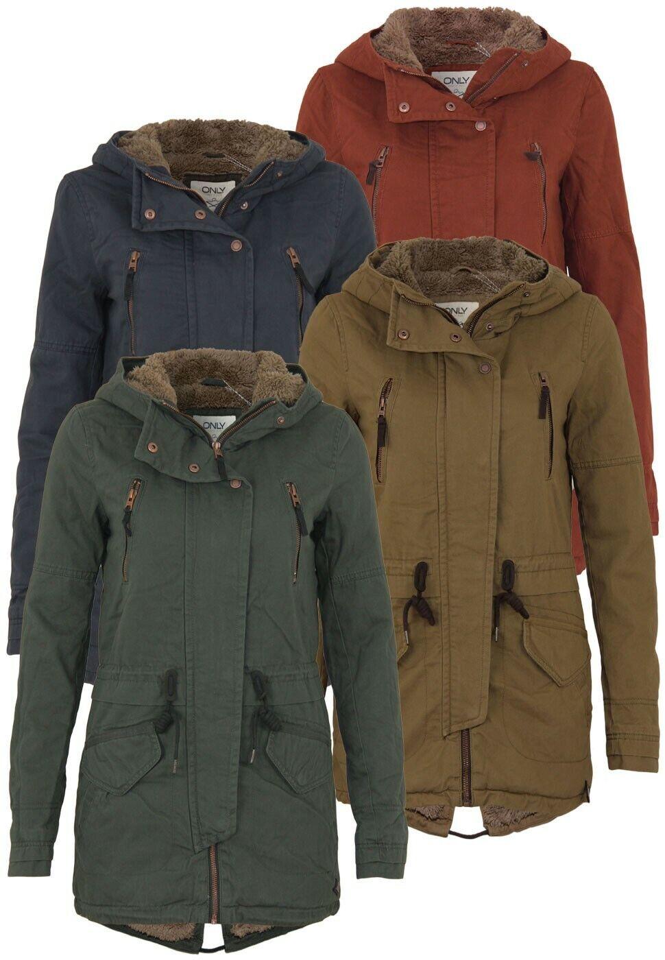 Only Damen Jacke Onlleeona Canvas Parka Jacket   Kapuze lang winter Outdoor