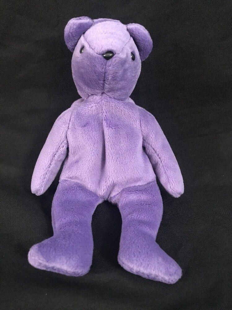 Ty beanie baby lila authentische teddybär 1. generation hintern tag altes gesicht selten