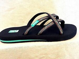af156999bd09c6 TEVA OLOWAHU Strappy Flip Flop Sandals Waterfall Navy MUSH Sole~NEW ...