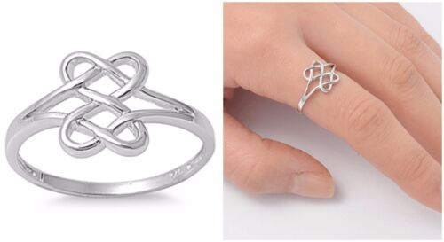 Sterling Silver 925 PRETTY CELTIC DESIGN SILVER BAND RING 11MM SIZES 3-13