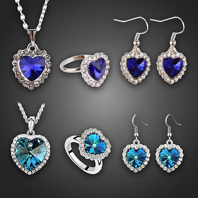 Titanic Ocean Heart Crystal Rhinestone Necklace Ring Earring Jewellery Set Hot
