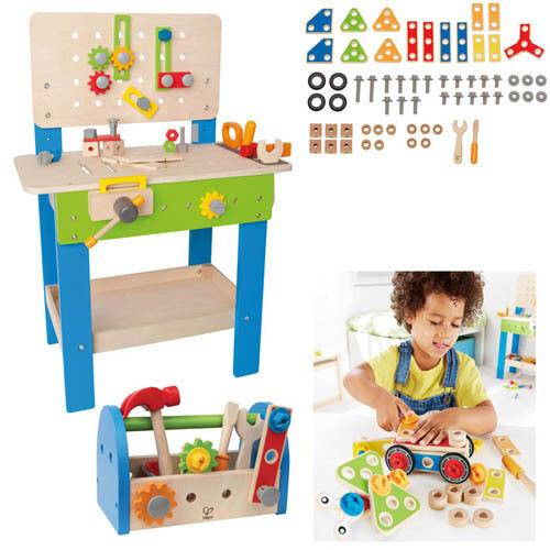 Hape Multi-Service-Set - Kinder Werkbank Werkzeugkasten Bauset Holzspielzeug