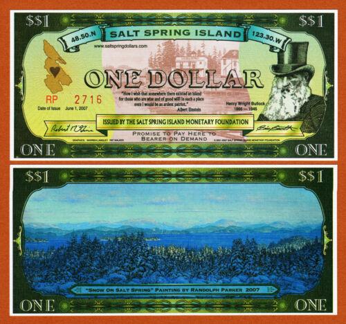 One Dollar 2007 UNC Canada Salt Spring Island