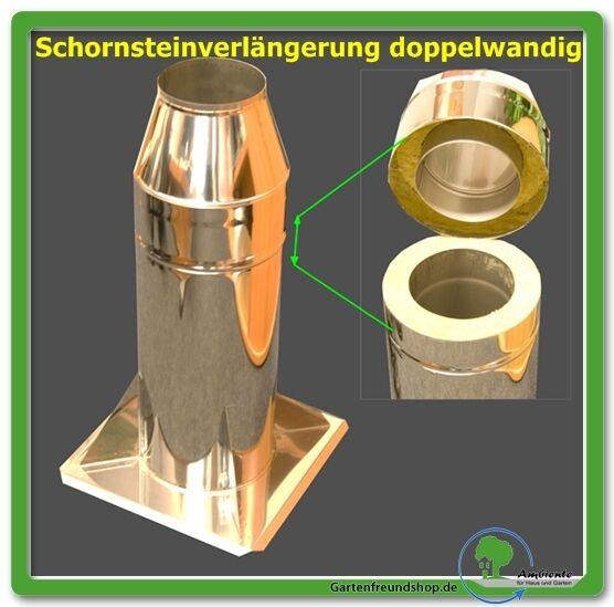 1000 mm Höhe Schornsteinverlängerung - Schornstein - Kamin Edelstahl 0,8 mm V4A