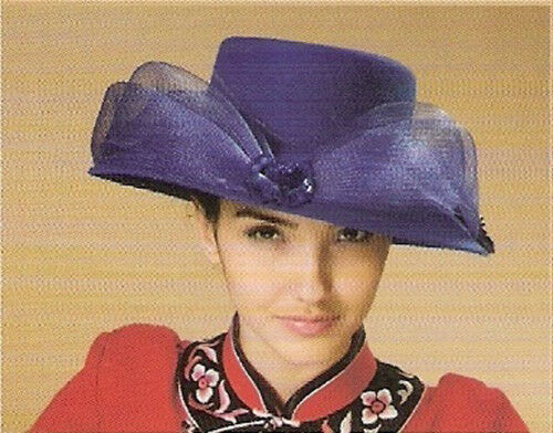Women's royal blue church derby wedding hat with flower, rose deco