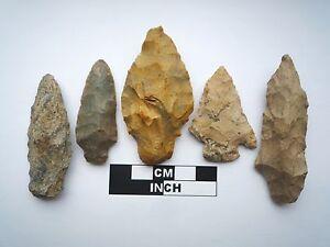 Native American Arrowheads x 5, Genuine Archaic Artifacts, 1000BC-8000BC (0804)