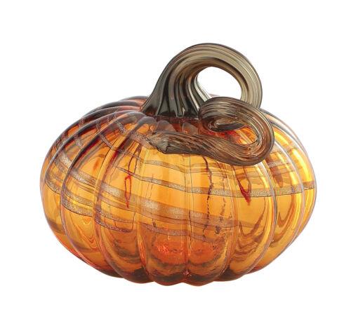 New 5 Hand Blown Art Glass Pumpkin Sculpture Fall Figurine Amber Harvest