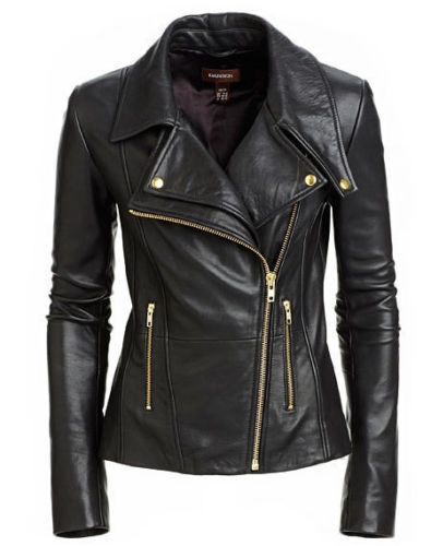 Real Leather Fit Style Black Jacket Women's Biker Slim zqfHOCT