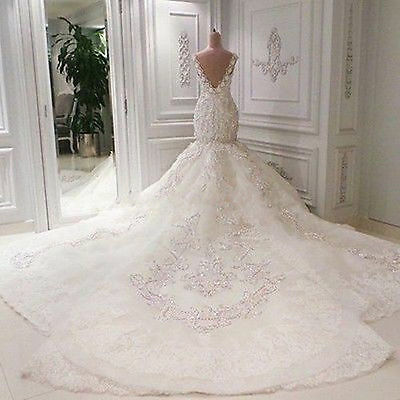 Luxury Mermaid White Ivory Wedding Dresses Crystal Bridal Gown Sleeveless Custom