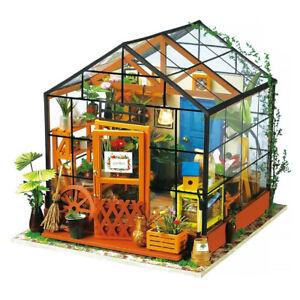 A-faire-soi-meme-3D-maison-Model-Kit-Serre-miniature-DEL-lumiere-maison-de-poupees-construire