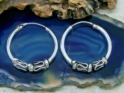 Keltische Creolen Verzierung 925 Sterling Silber Ohrringe Ø 12mm Bali Creole