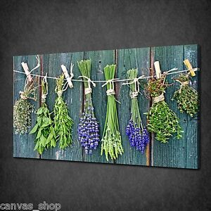 Image Is Loading Dry Herbs Flowers Hanging Kitchen Wall Art Canvas