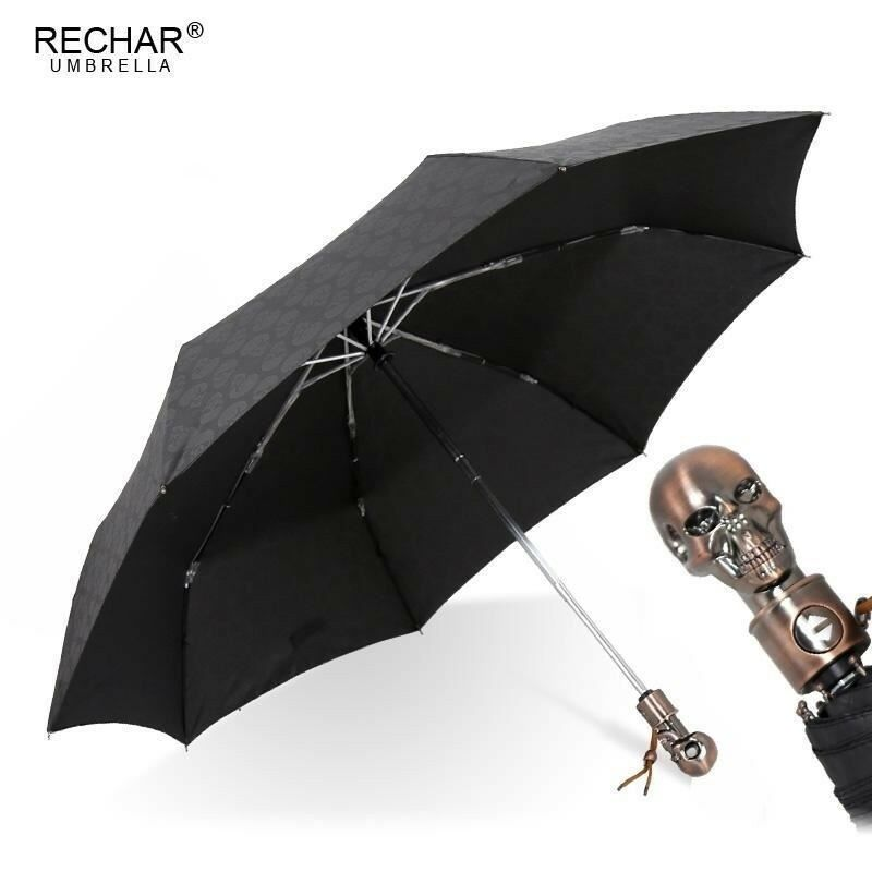 Skull Handle Umbrella Men Automatic Three Folding Creative Punk Retro Umbrellas | Online Outlet Shop