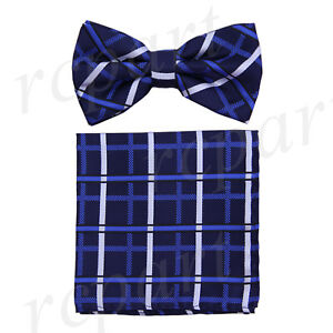 Men's microfiber Pre-tied Bow Tie & hankie set blue royal blue checkers formal