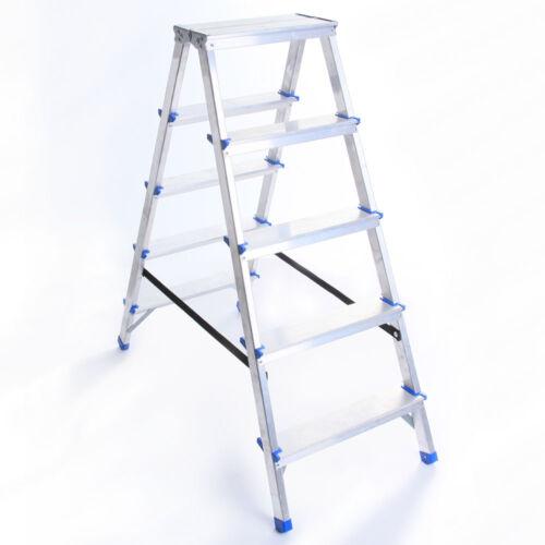 Zweiseitige ALULEITER 2-8 Stufen KLAPPLEITER Leiter Haushaltsleiter 150kg