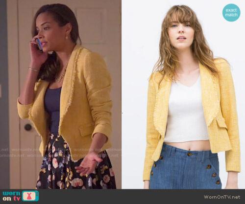 Jacket Zara Frakke New Gul Lille S Blazer Frayed Celebrity Blogger TwHqAwU