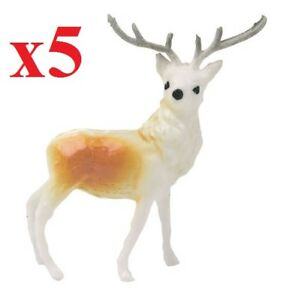 Details About 5 X Mini Reindeer Christmas Cake Decorations Yule Log Cupcake Toppers