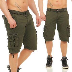 Herren Shorts Kurze Capri Hose Sommer 3 4 Bermuda Casual Army Green ... a2d4871e06