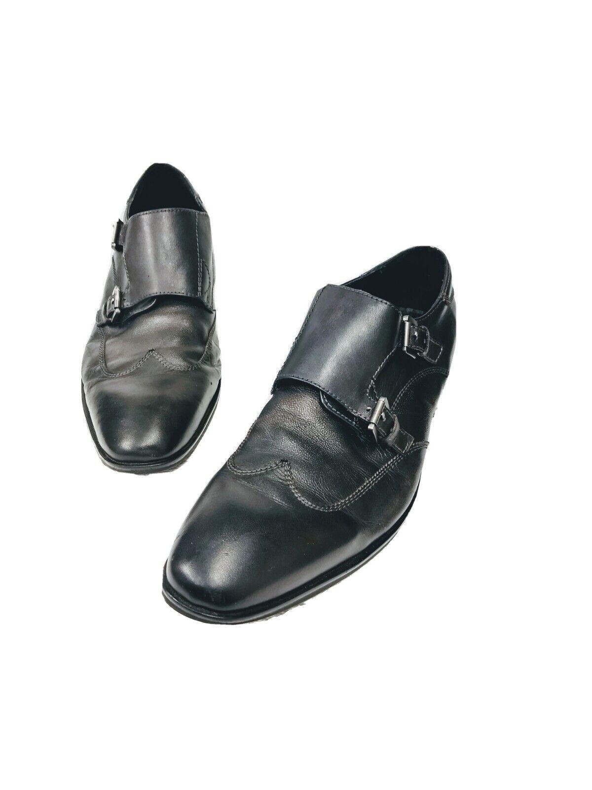 Kenneth Cole Men's 10.5 Double Monk Strap Dress Shoes Burning Oil Black Leather