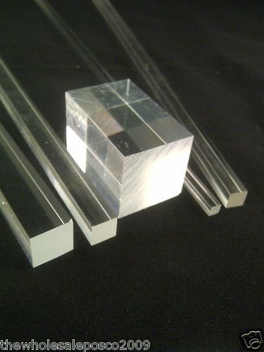 SQUARE CLEAR ACRYLIC ROD SOLID PERSPEX PLASTIC BAR PROFILE 500MM LONG LENGTHS
