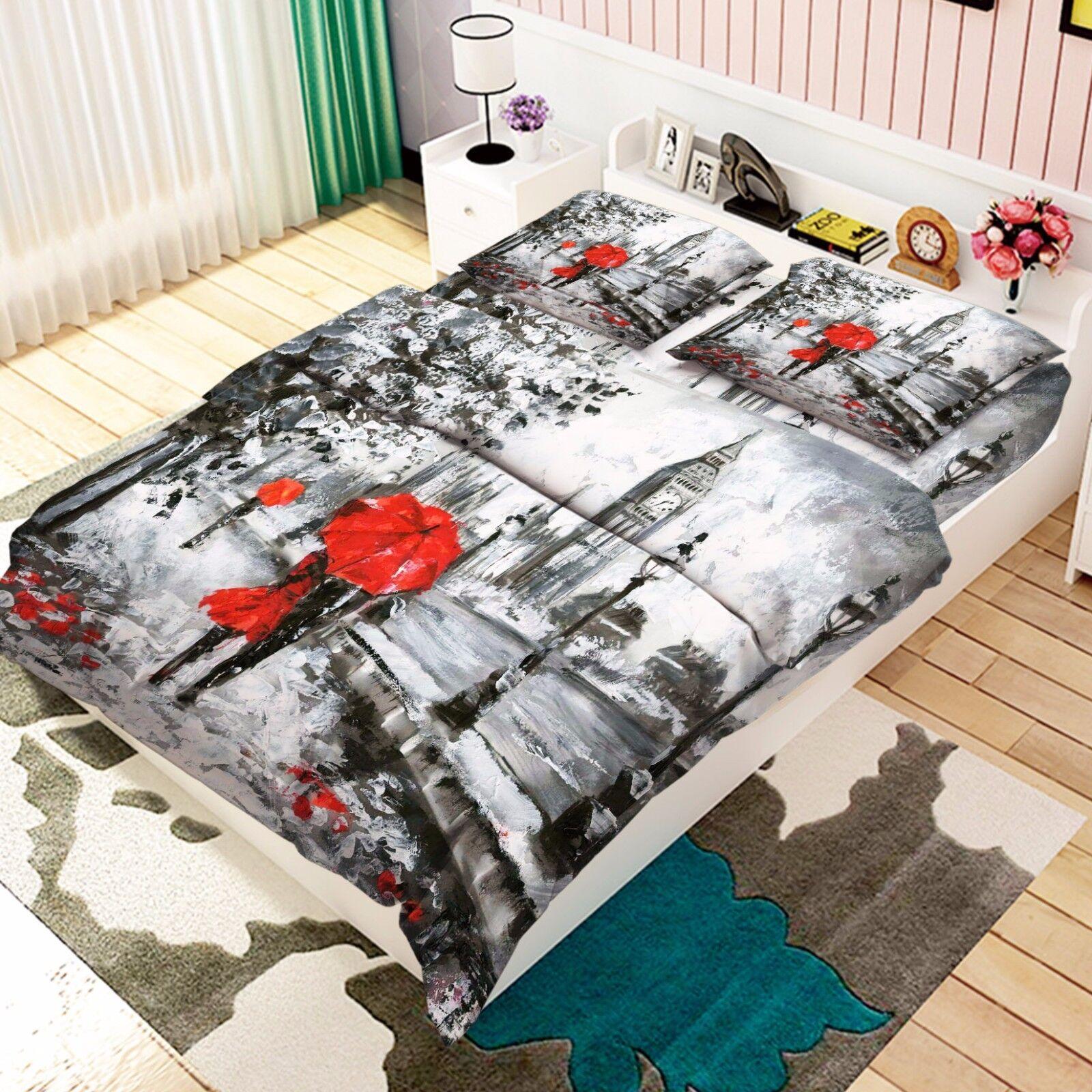 3D rot Umbrella 806 Bed Pillowcases Quilt Duvet Cover Set Single Queen UK Kyra