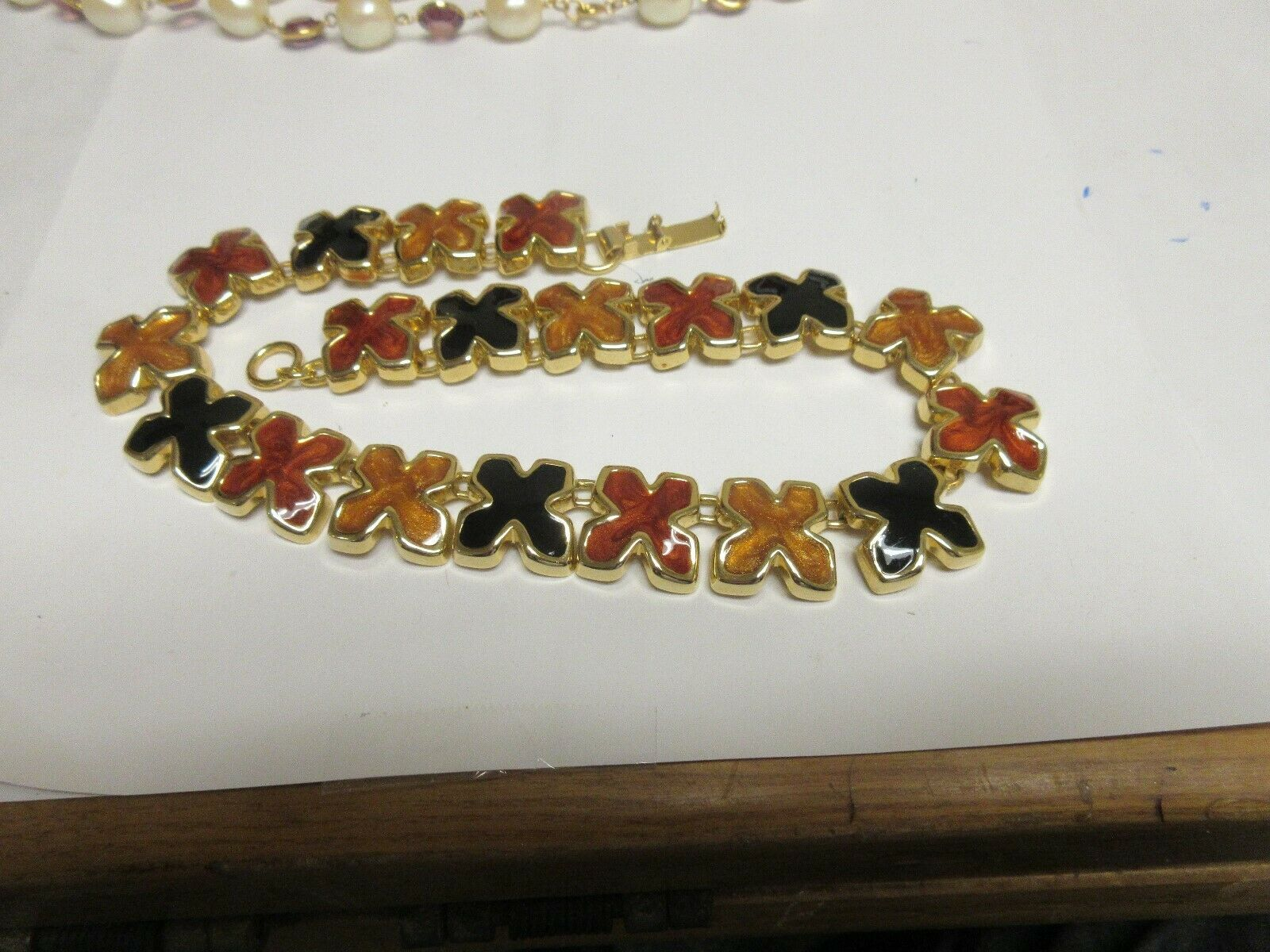 "Costume Jewelry , Necklace , Vintage , Multi Color ""X"""