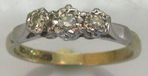 Vintage-18ct-Yellow-Gold-Platinum-Diamond-3-Stone-Ring-Size-J-1-2