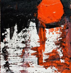 Original Acrylic Abstract Cardboard Painting Winter Full Moon Katie Jeanne Wood