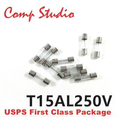 15 Amp SLOW BLOW 5mm x 20mm T15AL250V 15A 250V GLASS FUSE