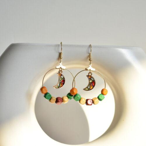 Femmes Boucles D/'oreilles Bijoux en Bois Perles Lune Rond Géométrique Boucles d/'oreilles pendantes