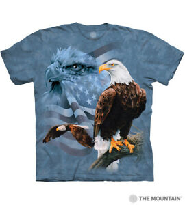The-Mountain-100-Cotton-Adult-Faded-Flag-amp-Eagles-Blue-T-Shirt-XL-amp-3XL-NWT